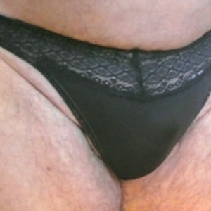 Panty Wearing Mens Black Lace Band Panty PL12