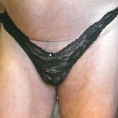 Panty Wearing Mens Black Lace Thong Panty PL15