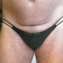 Panty Wearing Mens Black Double G-String Panty PL16